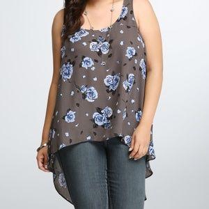 TORRID Floral Hi-Lo Back Seam Tank Top Shirt SZ 1X